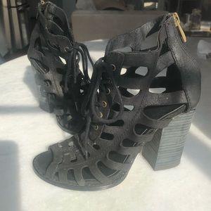 Coach Black Leather Block Heel Sandals Size 5.5
